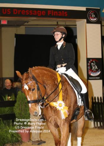 "Candace ""Candy"" Platz and Fynn in the winners' circle at the US Dressage Nationals 2014"