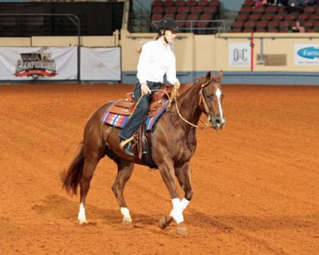Two-time Paralympian Rebecca Hart riding Spookanne, a 2006 mare by Smart Spook and out of Annieote Freckles by Colonel Freckles. The mare was bred and is owned by Rosanne Sternberg of Sterling Ranch in Aubrey, Texas. Photo Courtesy of: The American Quarter Horse Journal.