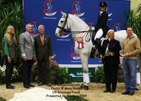 Janne Rumbough, from Palm Beach, Fla., placed second in the Grand Prix Adult Amateur Championships with a 65 percent aboard her own 12-year-old PRE gelding Junior (out of Gaucho III by La Nina) she bred and raised. Photo: Mary Phelps