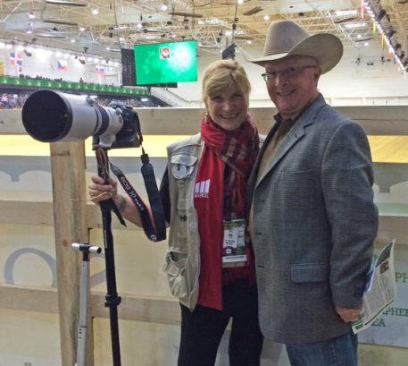 Markel's Mary Phelps with Markel's Frank Constantini at the Reining Final at the Alltech/FEI World Equestrian Games 2014, Normandy