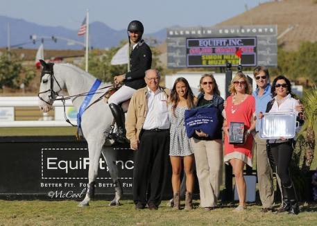 Simon Nizri and SN Stables, LLC's E Muze Yek, pictured with R.J. Brandes, Laila Klinsmann, Blenheim EquiSports VP of Marketing Melissa Brandes, Lauren Davis of EquiFit, inc., Blenheim EquiSports President Robert Ridland and Adrienne Brandes. Photo by McCool Photography