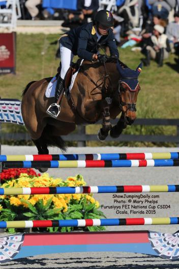 Roberto Teran Tafur and Woklahoma (KWPN by Sheraton x Calvados) produced a double clear round for Columbia. Photo: © Mary Phelps