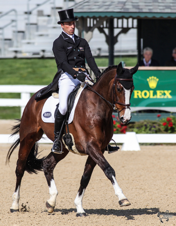 Tim Price and Wesko are tied for the lead at the Rolex Kentucky Three-Day Event, with a score of 36.3. (Photo: Ben Radvani)