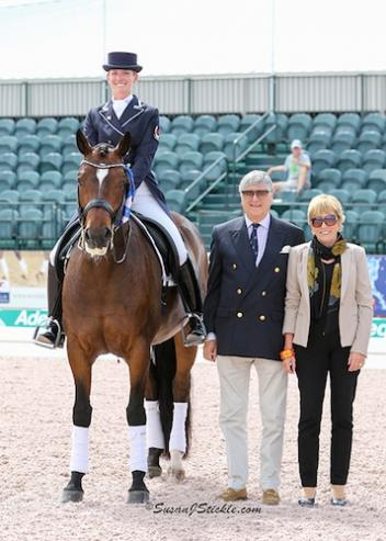 Tina and Fancy That in their winning presentation with Mike Collins and judge Katrina Wuest.