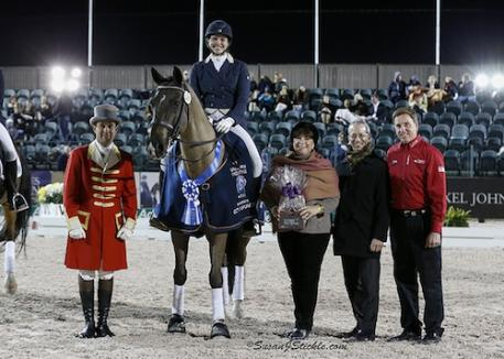 Anna Marek and Unico G in their winning presentation with Betsy Juliano of Havensafe Farm, judge William Lee Tubman, and Allyn Mann of Adequan® (Photo: SusanJStickle.com)