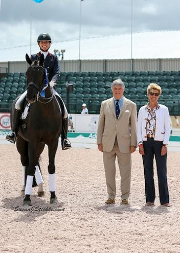 Charlotte Jorst and Kastels Adventure won their second class of the week, here in their winning presentation with Mike Collins and judge Ulrike Nivelle. (Photo: SusanJStickle.com)