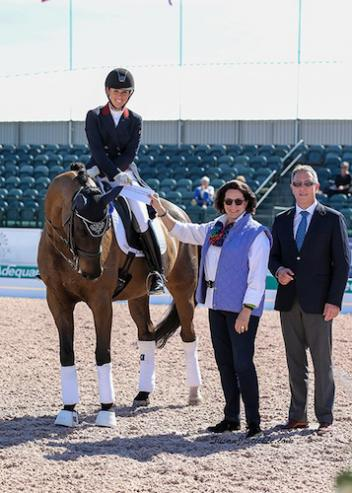 Kasey Perry and Goerklintgaards Dublet with Janet Richardson-Pearson of Chesapeake Dressage Institute and judge Wim Ernes. Photo: SusanJStickle.com