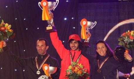 Winners of the FEI World Endurance Championships for Young Horses 2014 held in Slovakia. The UAE's Mansour Saeed Mohd Al Faresi (centre) took gold, ahead of silver medallist Jean Philippe Frances (left) and bronze medallist Aurelie Cambe (right), both from France. (Photo: Gilly Wheeler/FEI)