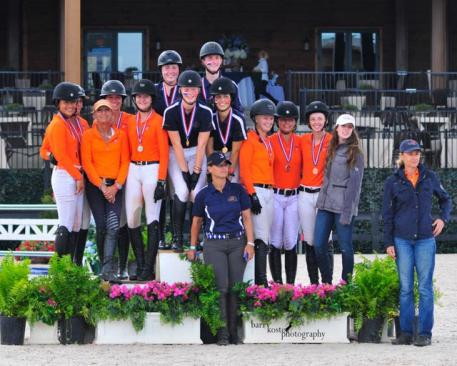 Zone 3 Team 1 captures Children's Team Gold at the 2015 USHJA Children's and Adult Amateur Jumper South Regional Championships. (Photo: Barry Kost Photography)
