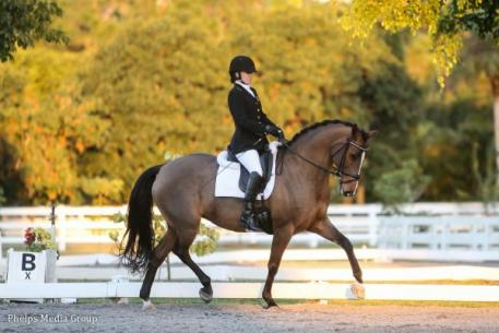 Rebecca Hart and Schroeters Romani rode to the high score of 78.382% during the Polar Express Show at White Fences.