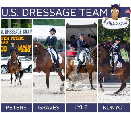 The US Dressage team for the World Equestrian Games. Photo courtesy of USEF