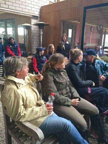 2014 Alltech FEI World Equestrian Games™ U.S. Para-Equestrian Dressage Team and support staff in Aachen having a team meeting during training camp. Photo courtesy of Sydney Collier