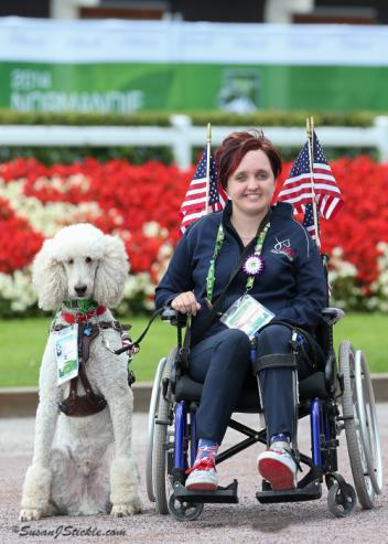 U.S. WEG Team Athlete Sydney Collier and her dog Journey. Journey became a media sensation at the 2014 Alltech FEI World Equestrian Games. Photo copyright SusanJStickle.com