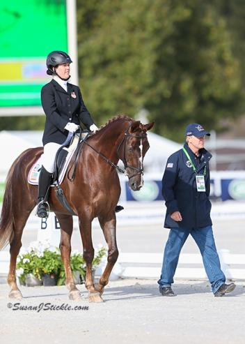 U.S. Chef d' Equipe Kai Handt at the 2014 Alltech FEI World Equestrian Games with rider Roxie Trunnell and horse Touche.