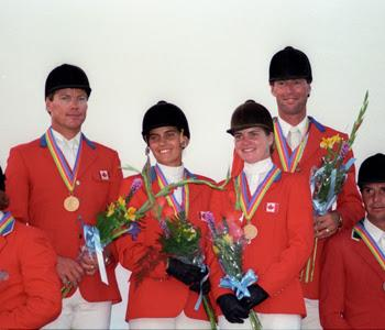 The 1987 Pan American Games Gold Medal Team will be inducted into the Jump Canada Hall of Fame on Sunday, November 9, 2014. From left to right: Hugh Graham, Laura Tidball Balisky, Lisa Carlsen, and Ian Millar. Photo by Karl Leck, Courtesy of Horse Sport