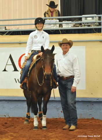 Two-time U.S. Paralympian (2008 and 2012) and 2010/2014 Alltech FEI World Equestrian Games Athlete athlete Rebecca Hart (Unionville, Pa.) with Pete Kyle and his horse Zins Smart Wrangler, donated by Pete and Tamara Kyle and owned by Pat Moore at the 2013 Para-Reining Demonstration. Photo by Lindsay Y. McCall