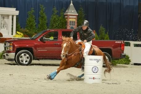 Show jumper Aaron Vale participated in last year's Celebrity Barrel Racing. Photo copyright Shawn McMillen Photography.
