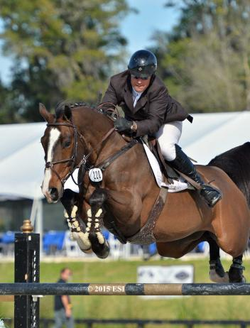Aaron Vale and Quidam's Good Luck jump clear in Sunday's $50,000 Equine Couture/Tuff Rider Grand Prix at HITS Ocala. (c) ESI Photography