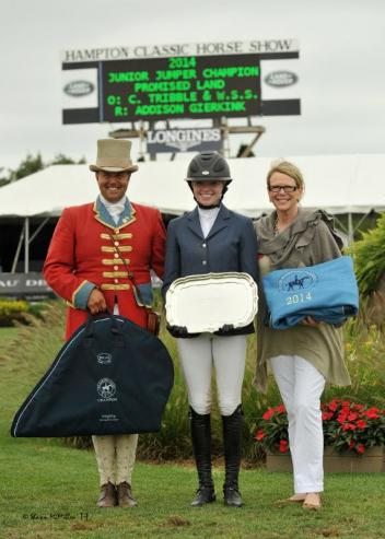 Addison Gierkink (center) rode Promised Land to win the $25,000 Marder's Show Jumping Derby at the Hampton Classic. (Shawn McMillen photo)