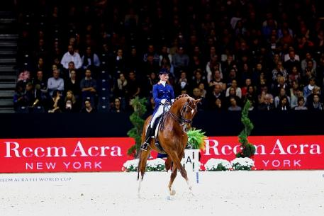 Two-time series champions, Adelinde Cornelissen and Jerich Parzival NOP, won the second leg of the Reem Acra FEI World Cup™ Dressage 2014/2015 Western European League at Lyon, France tonight. (FEI/Pierre Costabadie)