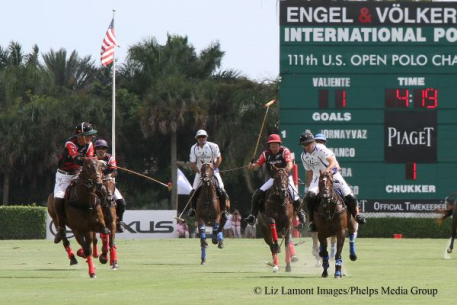 Adolfo Cambiaso (center) flies through a window en route to winning the 111th U.S. Open Polo Championship Final, flanked on the left by Orchard Hill's Steve Van Andel and Facundo Pieres, and on right by Eziquiel Ferraro and Valiente teammate Alejo Taranco. (Photo: Liz Lamont Images)