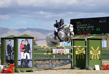 Allyssa Hecht and Calvatos Z, owned by Neaulani Farms, won the 0,000 Jr. A-O Jumper Classic High at HITS Thermal on Sunday, February 22, 2015. (c) ESI Photography