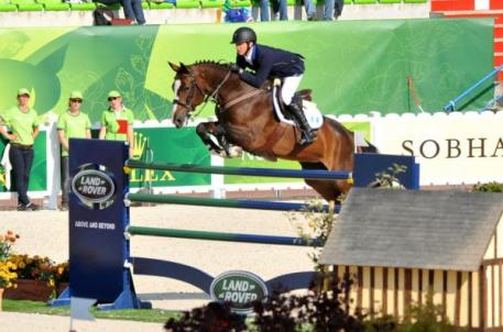 Alvaro Tejada and Voltaral Palo Blanco competing at the 2014 World Equestrian Games