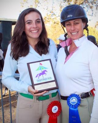 Andrea Smice and trainer Sandrine Seifert celebrate Andrea's win of the Carousel Hunter Derby Series and Sandrine's Verdugo Hills Outreach Trainer Incentive win. Photo: Bill Smice