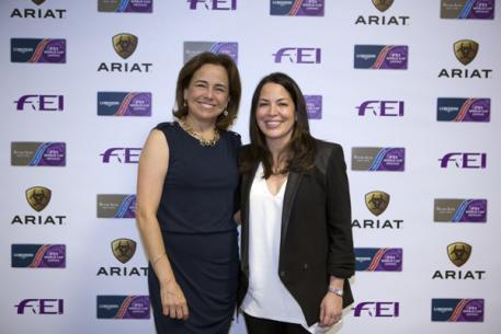 Ariat International, the US-based leader in Western and English footwear and apparel, today signed an exclusive licensing and sponsorship agreement with the International Equestrian Federation (FEI) at the FEI World Cup™ Finals in Las Vegas – pictured left is Beth Cross, founder and CEO of Ariat International and right is Lisa Lazarus, Chief of Business Development & Strategy at the FEI. (FEI/Dirk Caremans)