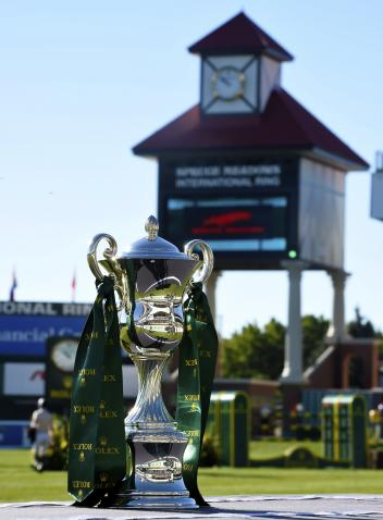 "The Rolex Grand Slam Trophy in the ""International Ring"" of Spruce Meadows"