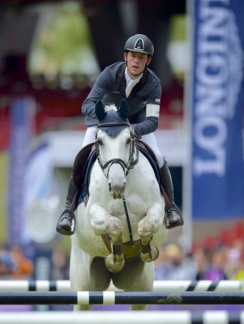 Scott Brash at the Longines Equestrian Beijing Masters 2014 on his borrowed horse Centana.