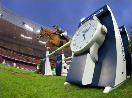 "Ludger Beerbaum (GER) and his borrowed horse ""Leonidas"" at the ""Longines Equestrian Beijing Masters"" Grand Prix."