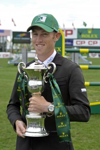 Rolex Grand Slam winner Scott Brash with the Grand Slam trophy