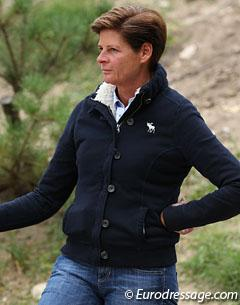 German Olympian Ulla Salzgeber at the 2012 European Pony Championships, where she trained Polish pony rider Joanna Tragarz