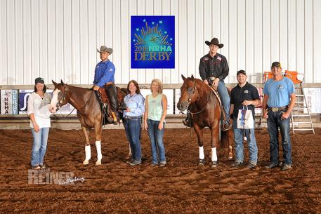 Frederick Win riding Rem N Trash and Cole Jacobs aboard One Big Dream (Photo: NRHA)