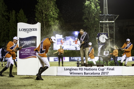 Champagne celebration for the Dutch, winners of the Longines FEI Nations Cup™ Jumping 2017 title at Real Club de Polo in Barcelona (ESP).