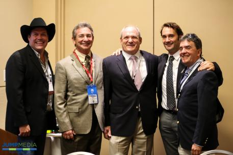 Brandon Ames, CEO of AniCell BioTech, with Dr. Scott Swerdlin, Dr. Robert Brusie, and Dr. Jorge Gomez, all of Palm Beach Equine Clinic.