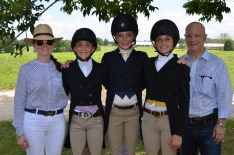 Becky and David Gochman pictured with 2016 USHJA Foundation Gochman Family Grant recipients Cecillia Machado, Riley Hogan and Judy Dettore