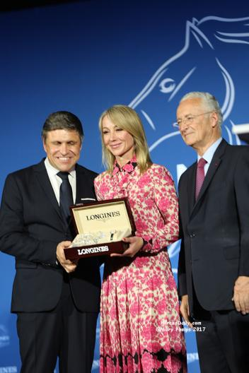 Carlos Capelli, Vice President of Longines, The Honourable Belinda Stronach, P.C and Louis Romanet, Chairman of the International Federation of Horseracing Authorities (IFHA)