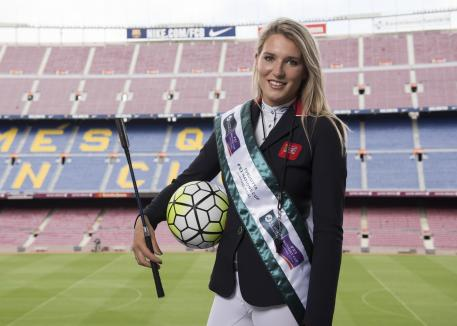New British talent at FC Barcelona: Jess Mendoza pictured at FC Barcelona's iconic Camp Nou stadium in the countdown to the Furusiyya FEI Nations Cup™ Jumping Final at Real Club De Polo de Barcelona later this month. (FEI/Dan Rowley)