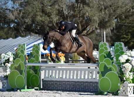 Aaron Vale and Dress Balou on their way to a 0,000 Devoucoux Hunter Prix win. (Photo: ESI Photography)