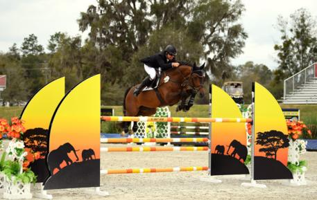 Aaron Vale and Quality on Top on their way to a $41,200 HITS Jumper Classic win.