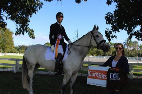 Adam Steffens on Regatta won the GumBits Happy Horse Harmony Award at the Polar Express Horse show in Wellington, Florida