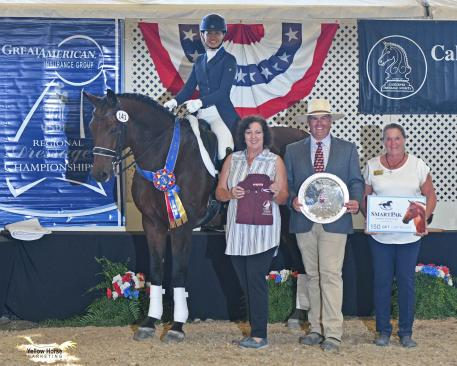 Akiko Yamazaki of Los Altos Hills, Cal.  found her way to the winner's circle with her KWPN gelding Chopin R after scoring 71.118% in the Great American/USDF Region 7 Intermediaire I Adult Amateur Championship.