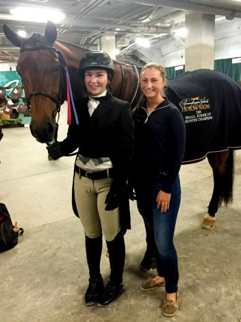 "Alex Trolli and Hey Sailor captured the Junior 3'3"" Hunter Championship during the 2015 Pennsylvania National Horse Show. Pictured with SBS Farms, Inc. trainer Alicia Heberle."