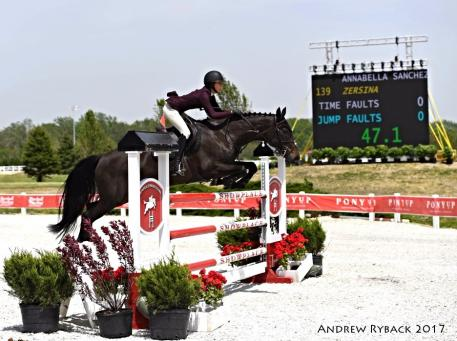 Annabella Sanchez en route to victory aboard Zersina in the $5,000 Johnson Horse Transport Open Welcome.