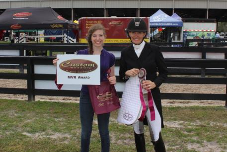 Dressage Olympian Ashley Holzer wins the Custom Saddlery MVR Award at the Adequan Global Dressage Festival