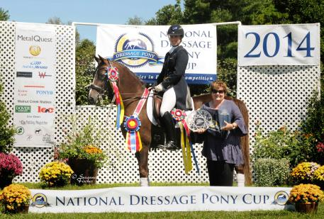 New champions will be crowned this weekend at the National Dressage Pony Cup in Lexington, Ky. (L-R) Avatar's Jazzman, Lauren Chumley, & NPDC founder Jenny Carol. Photo by Suzanne Fischer.