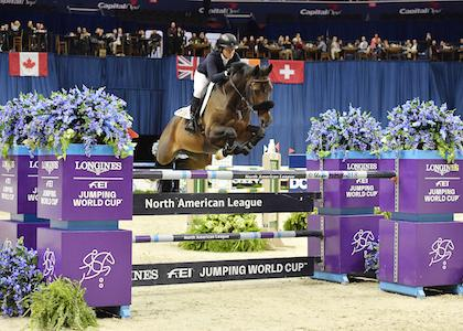 Beezie Madden claimed her third Longines FEI Jumping World Cup Washington win on Saturday, October 27. (Photo: Shawn McMillen Photography)