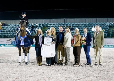 Belinda Trussell and Anton in their presentation ceremony with representatives of the U.S. P.R.E. Association, Allyn Mann of Adequan®, Katherine Bellissimo, Linda Zang, and Sponsorship Coordinator Cora Causemann.